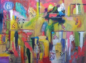 4502 Unveiled-Abstract Art-Acrylic, cold wax oil and collage on large canvas-Various marks in vibrant colors-For sale.