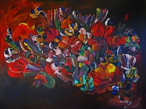 4504 Powerful Abundance-Lively Abstract flowers in warm colors-Acrylic on canvas-For sale-R9000,00