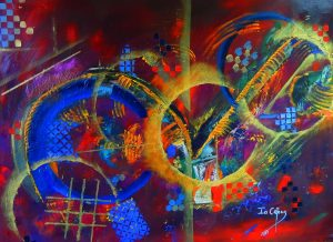 4505 Hidden Truth-Nonrepresentational Painting-Five colorful circles-Acrylic and cold wax oil on canvas-Buy now online