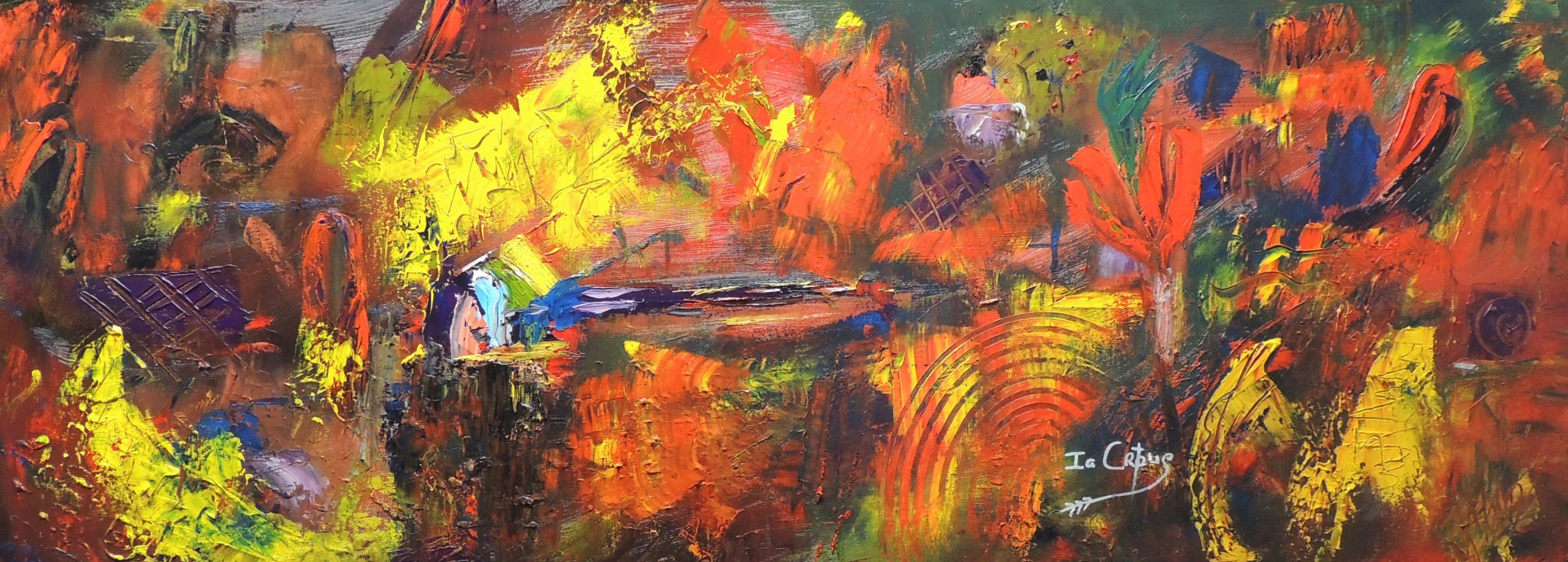 4507 Creativity Burst-Red abstract painting for sale-Warm red and yellow hues on canvas