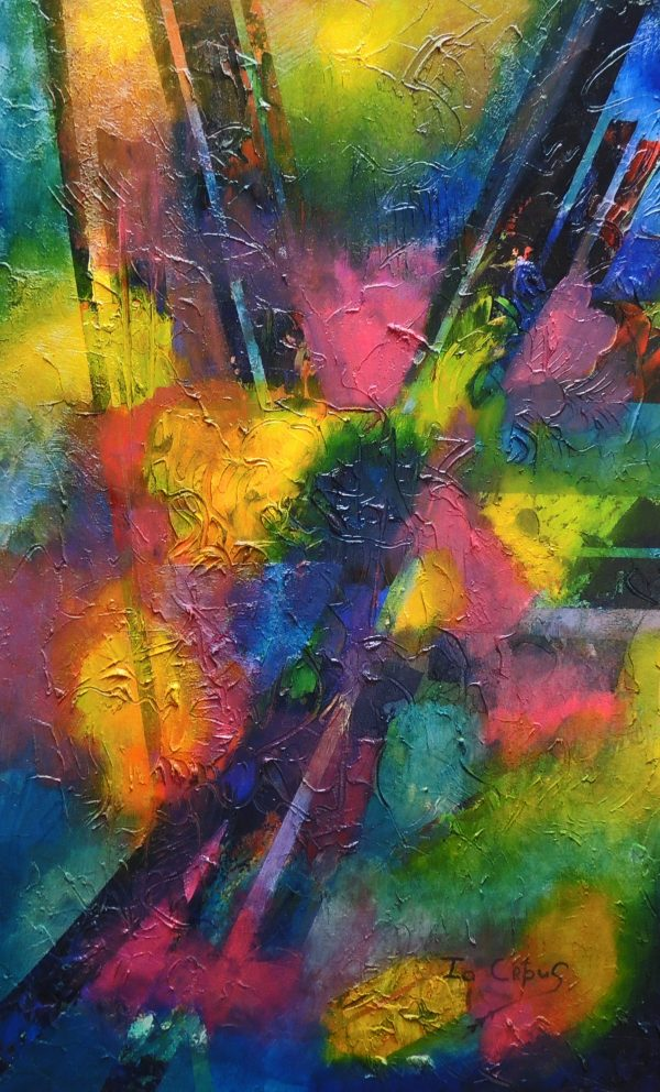 4509 Secrecy-Abstract Painting-Bold textures, hues, and layers on canvas-For sale