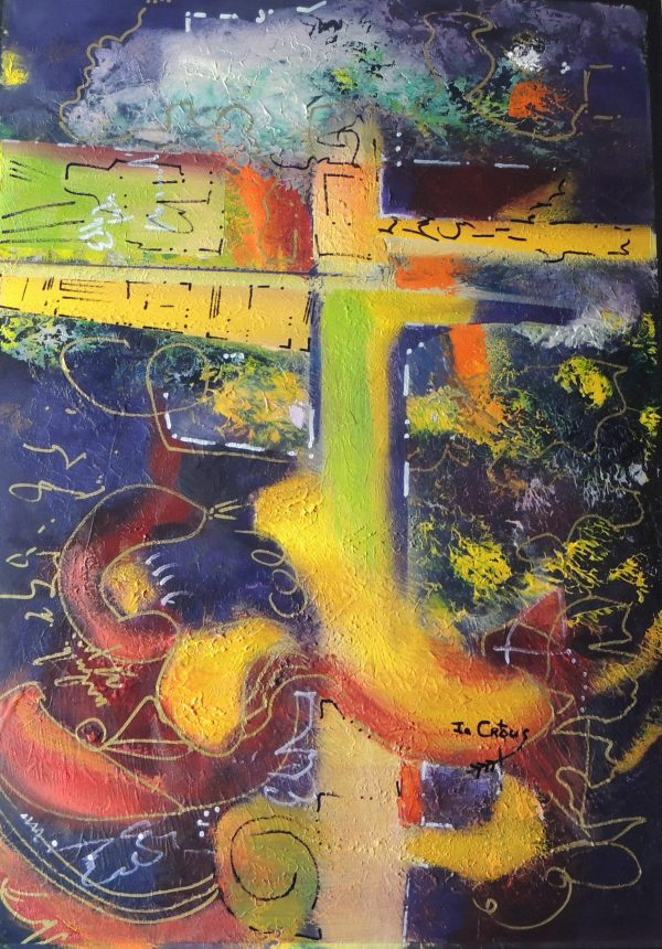 4510 Mind your Step-Abstract work of art-Various lines and forms in warm and cool hues on board-Buy online