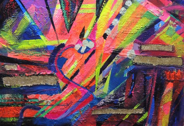 4511 Vulnerable Wealth-Collages in gold leaf on hessian-Strong diagonal lines-Abstract painting on board-Buy online