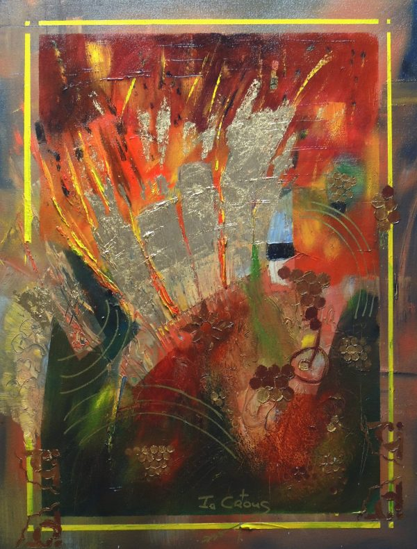 4512 Powerless Grief: Joyful Relief-Painting in gold leaf collage and warm hues-Cool green paint splashes on canvas-For sale.