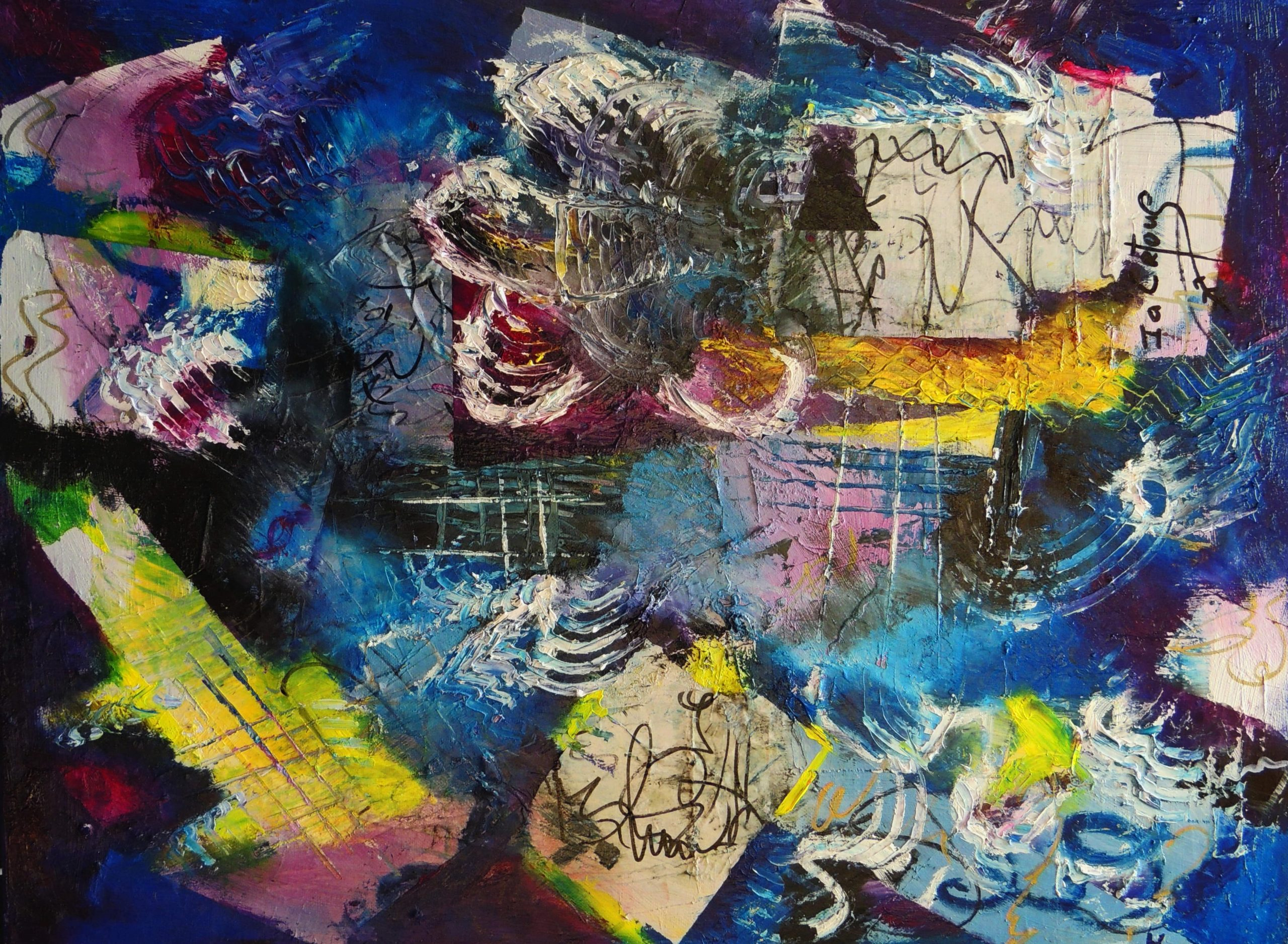 4514 Written-Tissue paper collages on canvas-Mark making, textures, lines, and shapes against dark background-For sale