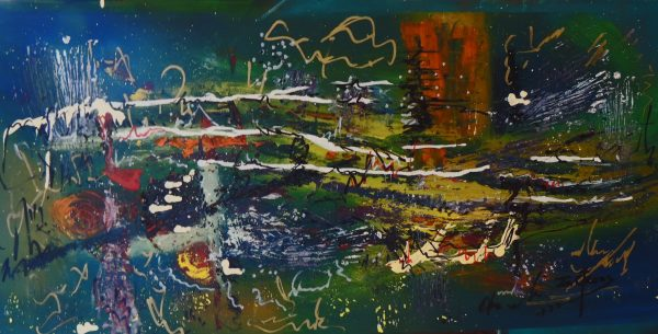 4517 Nights' Tranquility-Acrylic and collage abstract painting -Cool hues and warm tints-For sale.