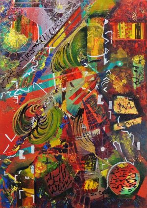 4522 He: From Mars-Thick colorful palette knife stokes-Collages and cold wax on canvas-For Sale-Free delivery only in SA