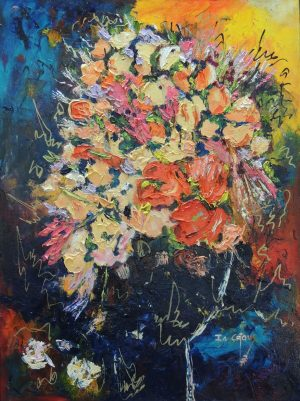 4523 Flowerdance in the Wind-Bright warm abstract flower arrangement-Cool blue background-Acrylic and oil on canvas-For sale