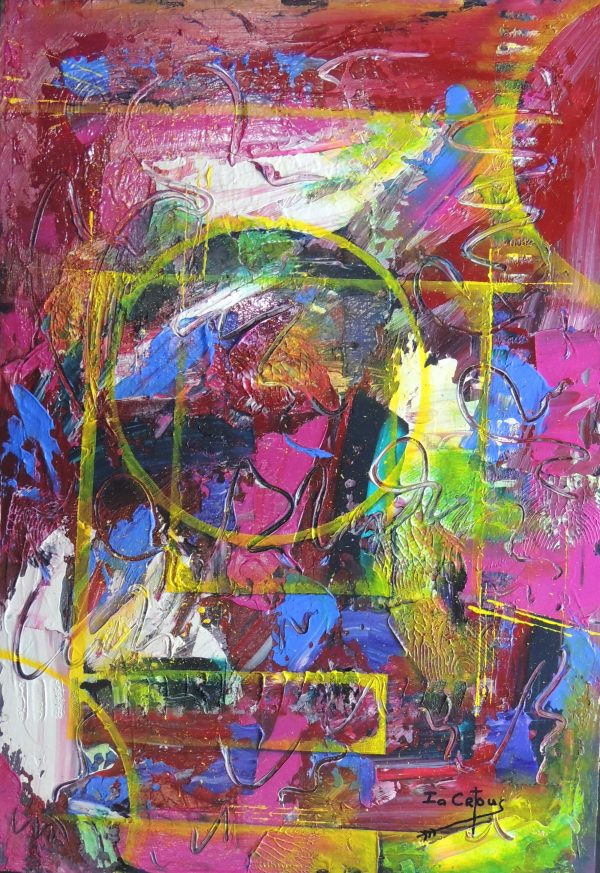 4528 Survival-Abstract-Written marks, circles, rectangles, scratches in mixed media-On Board-Warm and cool colors-For Sale