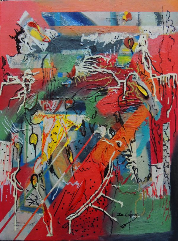 4530 Follow Your Dreams-Abstract Art on canvas-Layers in mixed media-Intense hues-For Sale-Free delivery only in SA