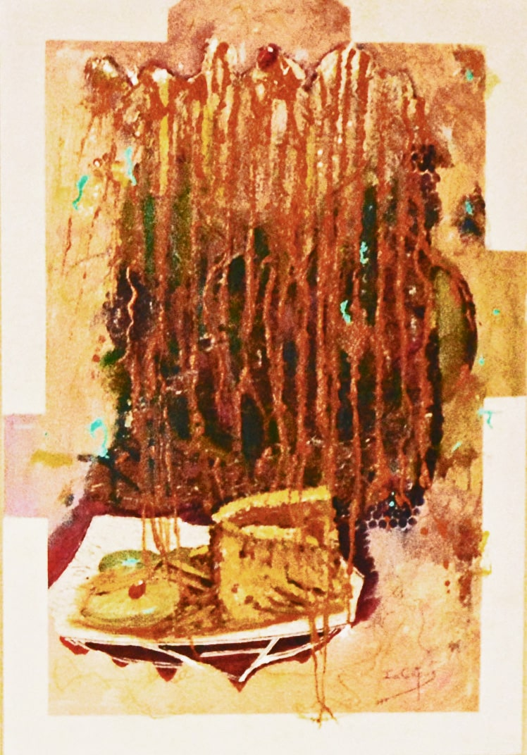 4537 Coffee-spill-Coffee granules, collages and acrylic paint on board-Warm hues-Abstract Art-For Sale-Free delivery only in SA