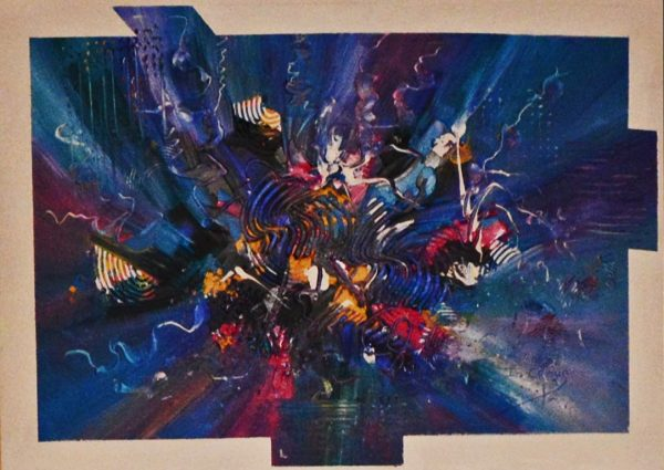 4538 Free-Abstract painting in acrylic-Playful intense colors on board-For Sale-Free delivery only in SA
