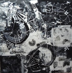 4540 Conversation-Black and white acrylics on canvas-Abstract Art-For Sale-Free Delivery only in S